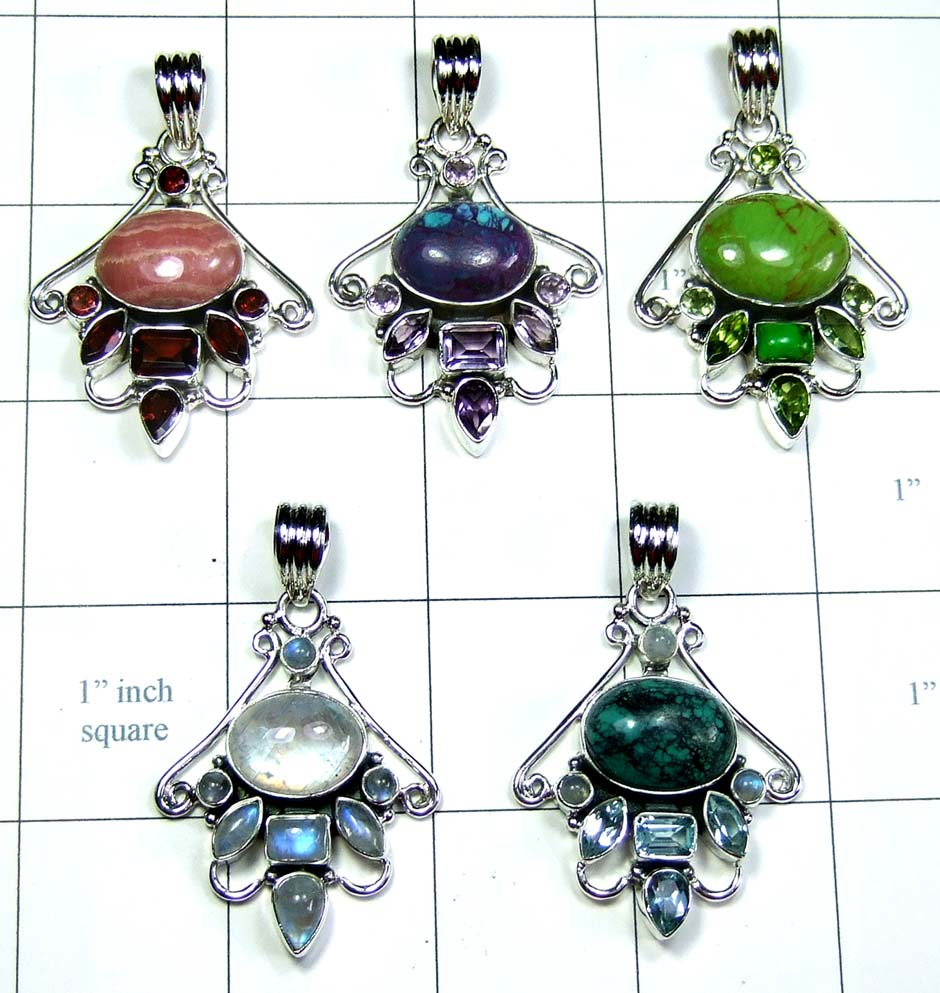 5 Pcs Cut & Cab Pendants-jyp309