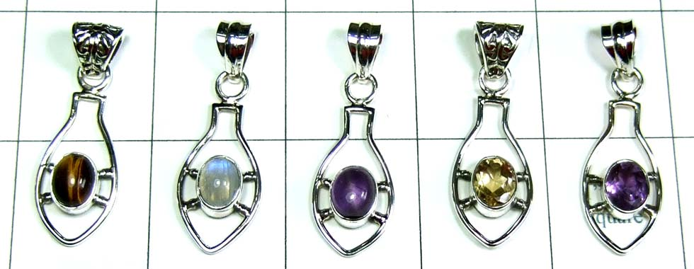 5 Pcs Cut & Cab Pendants-jyp312