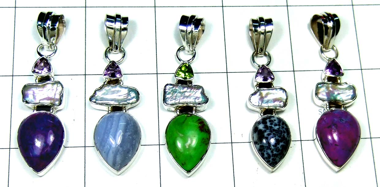 5 Cut Cab Pendants-jyp344