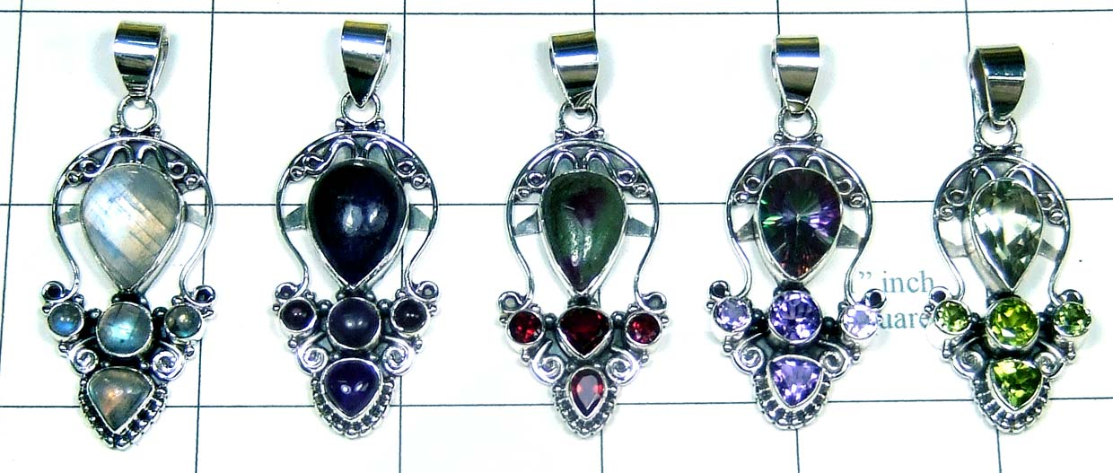 5 Cut Cab Pendants-jyp346