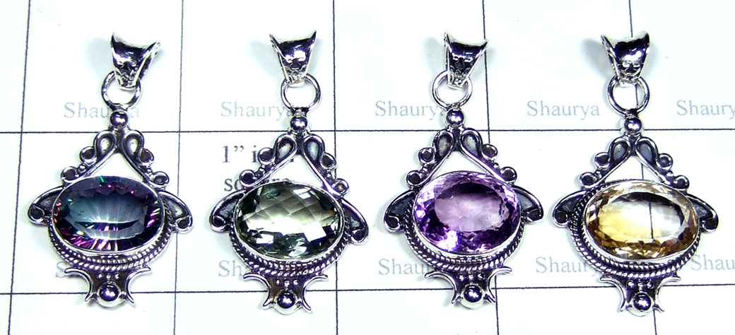 4 Color faceted gems Pendants-jyp407