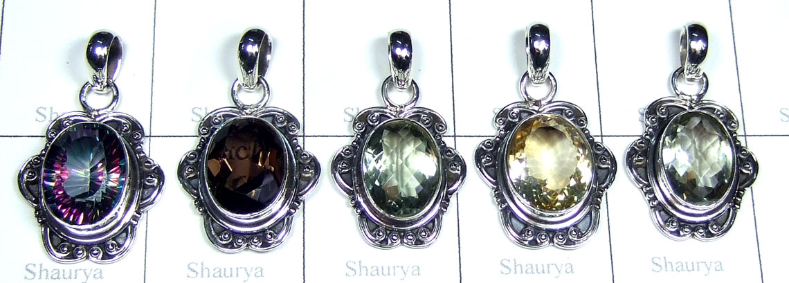 5 Color gemstone Pendants-jyp474