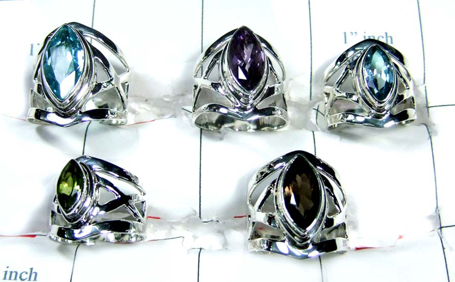 Wholesale silver gems Rings-5pcs-jyr051