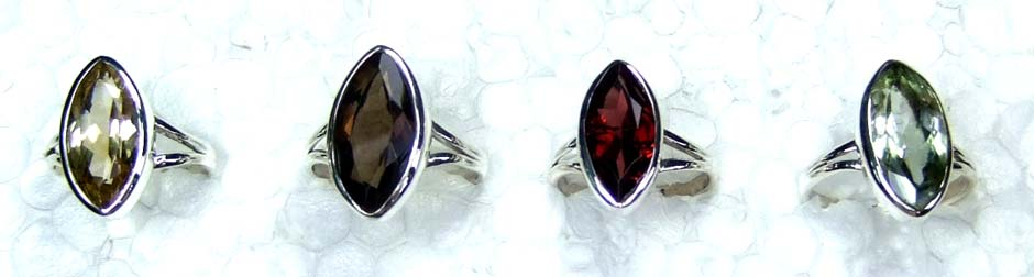 Sterling silver gems Ring 4 pcs-jyr057
