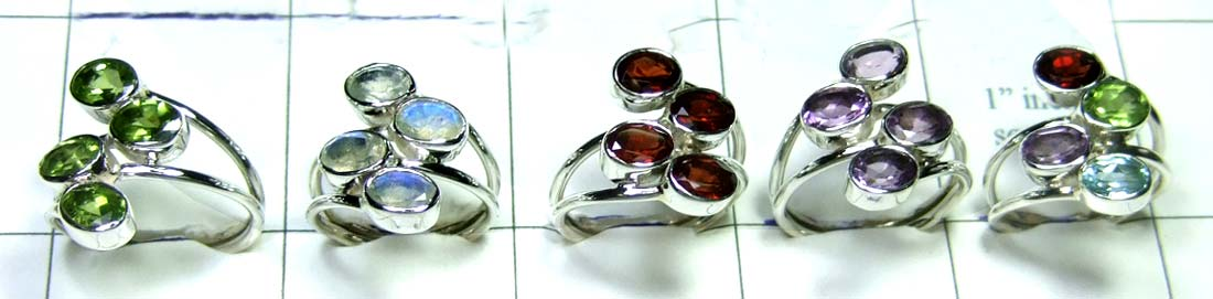 5 Pcs Cut Stone Rings-jyr088