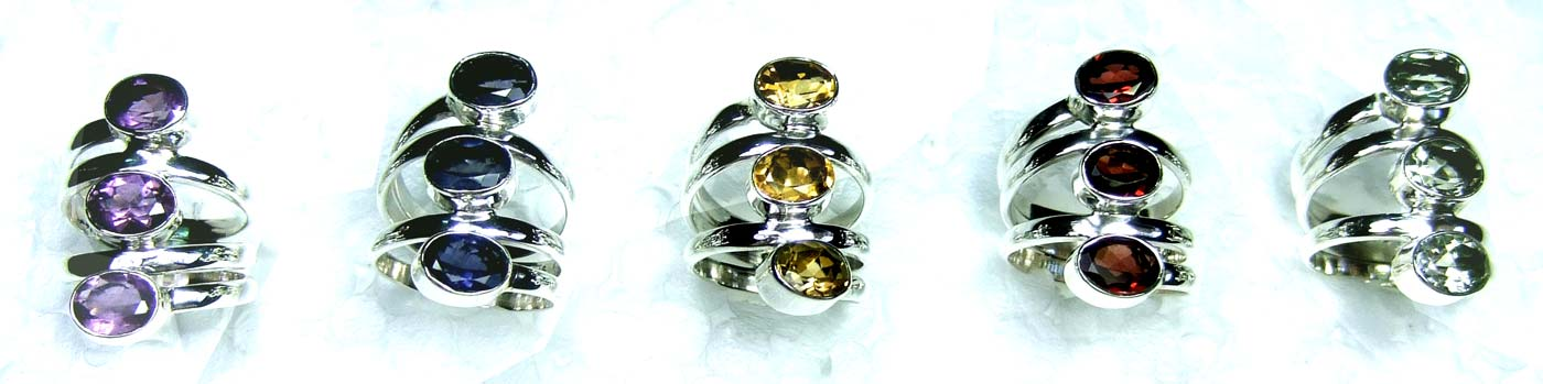 5 Pcs Cut Stone Rings-jyr099