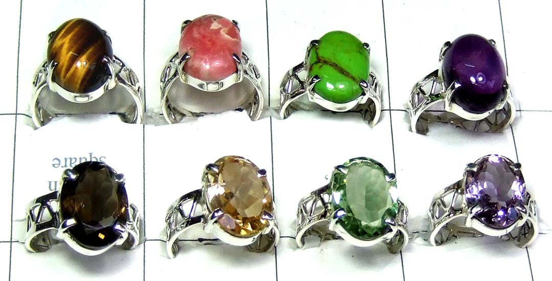 8 Pcs cut & cab Stone Rings-jyr152