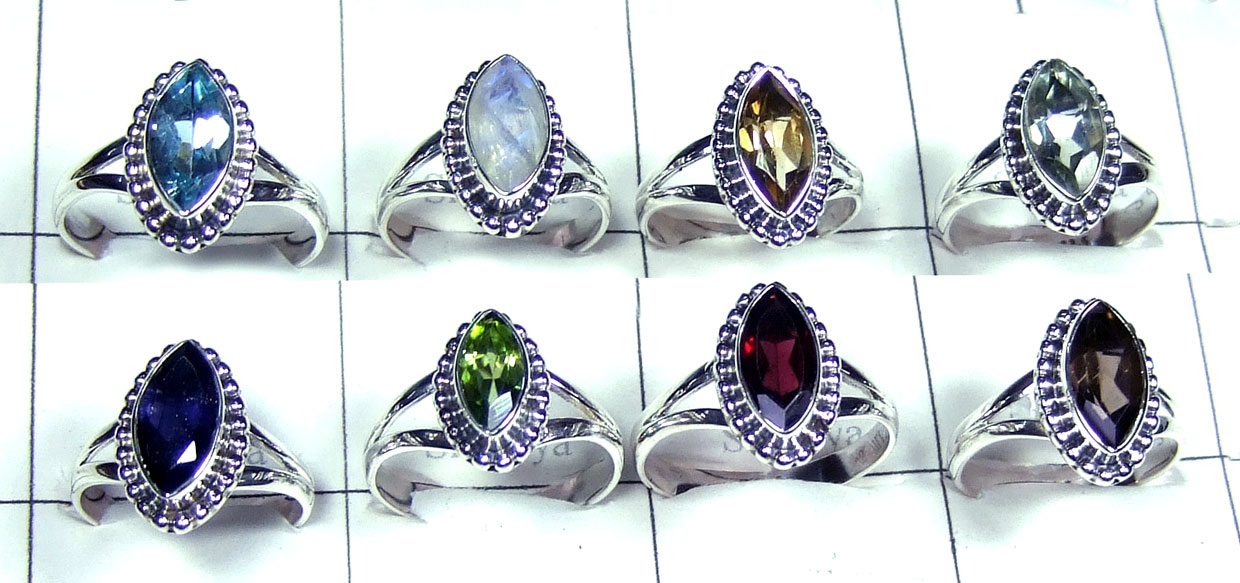 8 Faceted gemstone Rings-jyr153