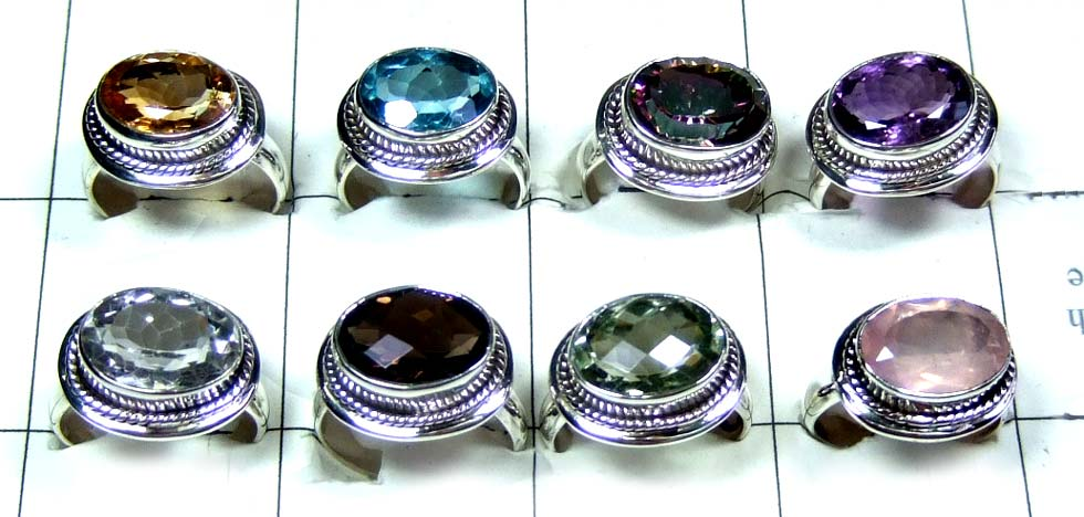 8 Sterling silver Cut stone Rings-jyr161