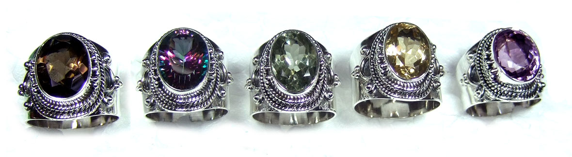 5 Pcs Sterling silver Cut Rings-jyr164