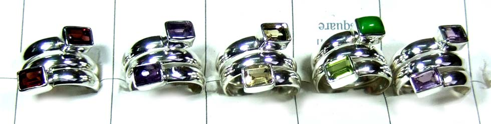 5 Pcs silver cut gemstone Rings-jyr188