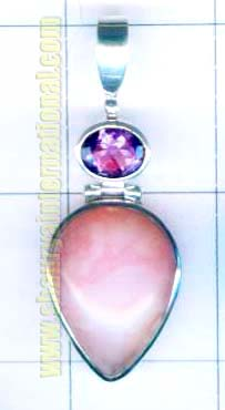 Silver hanging pink opal with amethyst pendent-nscsp053