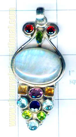 Silver rainbow moonstone with fire pendent-nscsp087