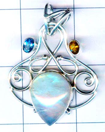 Silver exclusive rainbow moonstone pendent-nscsp196