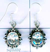 Silver gem stone earring-nsnave031