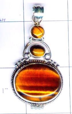 Silver wholesale tiger eye pendent-nsnsvp030