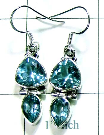 Blue topaz Trillion Earring-ss4e048