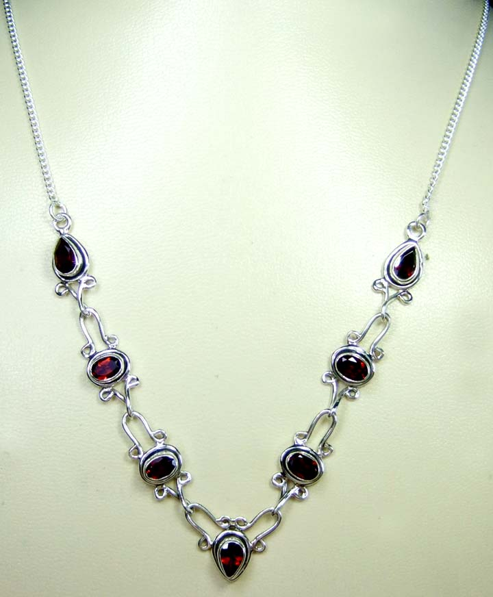 Sterling silver gems necklace-ss4n011