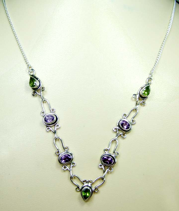 Sterling silver gems necklace-ss4n012