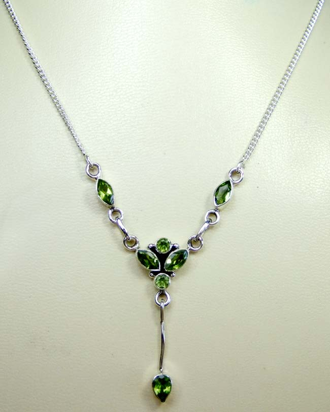 Sterling silver gems necklace-ss4n013