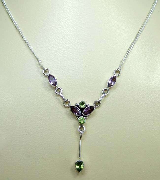 Sterling silver gems necklace-ss4n014