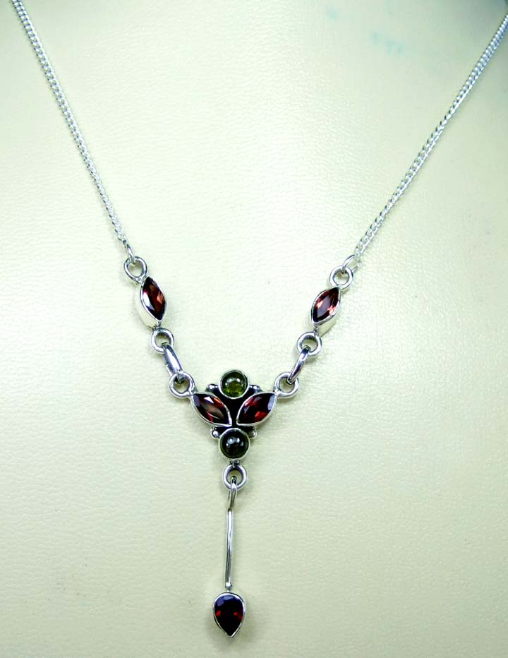 Sterling silver gems necklace-ss4n015