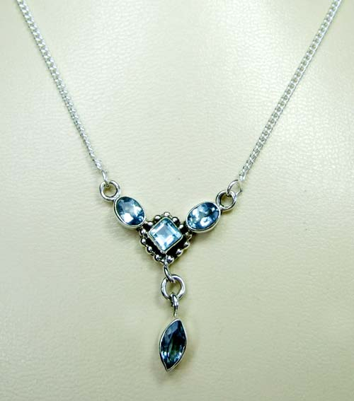 Sterling silver gems necklace-ss4n017