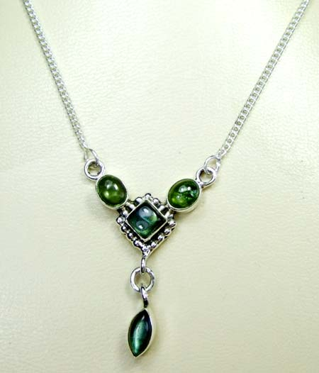 Sterling silver gems necklace-ss4n018