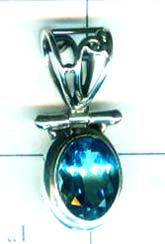 Sterling Silver Blue Topaz Pendant-ss4p028