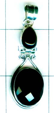 Sterling silver onyx Pendant-ss4p100