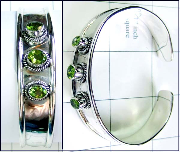 Peridot gemstone Bangle-ss4sben002
