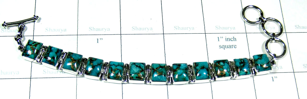 Silver Blue copper Turquoise Bracelet-ss5b034