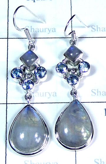 Silver cut & cab gemstone Earring-ss5e076
