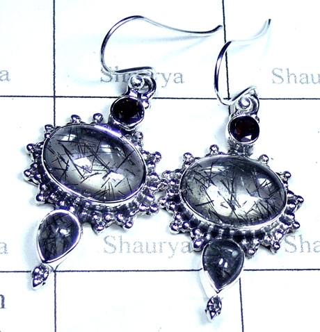 Silver Black Routile gemstone Earring-ss5e162