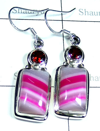 Silver Pink lace Agate gemstone Earring-ss5e172