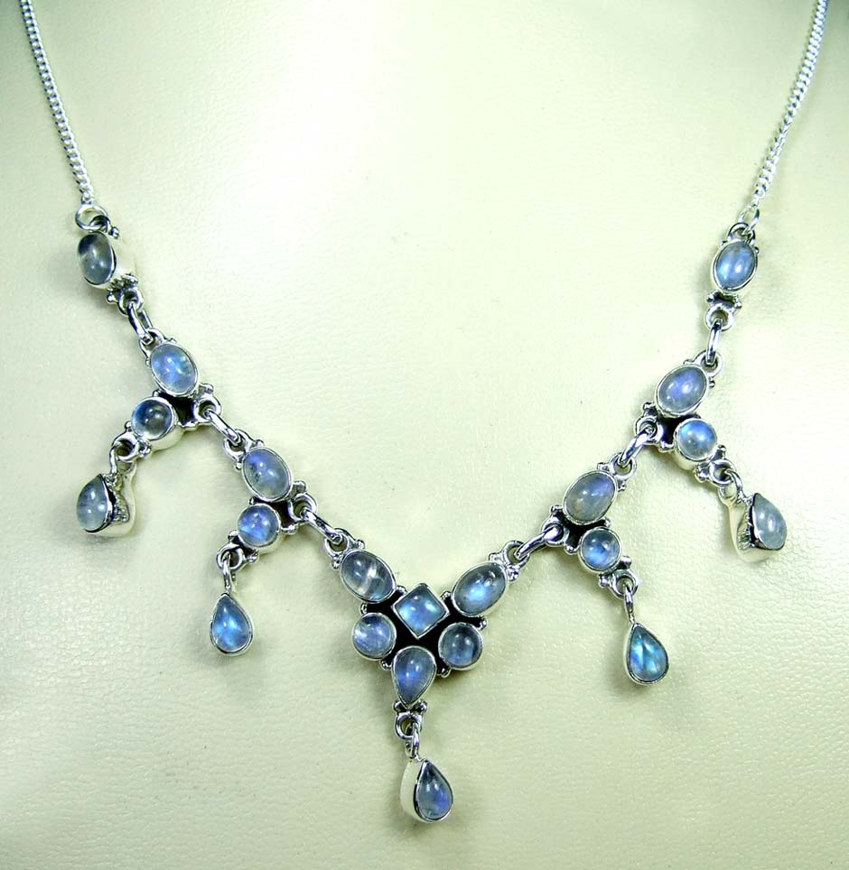 Sterling silver gems Necklace-ss5n004