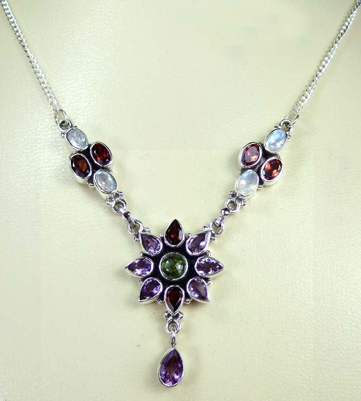 Sterling silver gems Necklace-ss5n006
