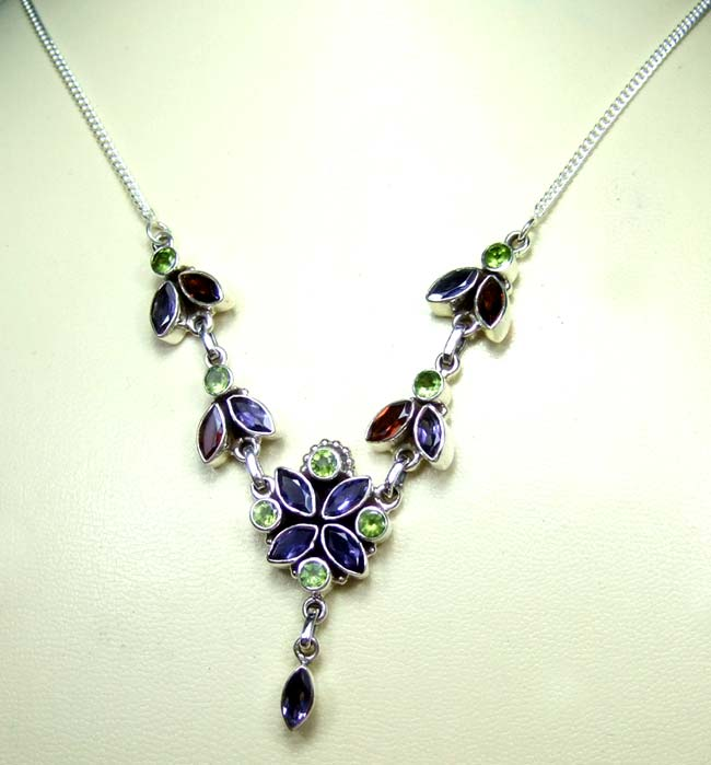 Sterling silver gems Necklace-ss5n007
