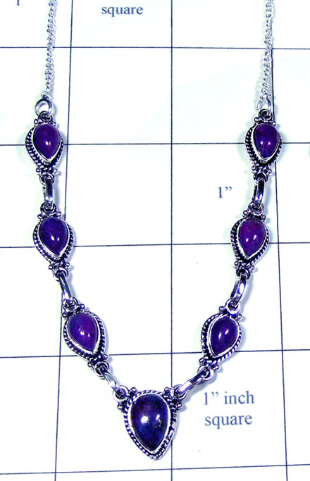 Purple Turquoise gems Necklace-ss5n019