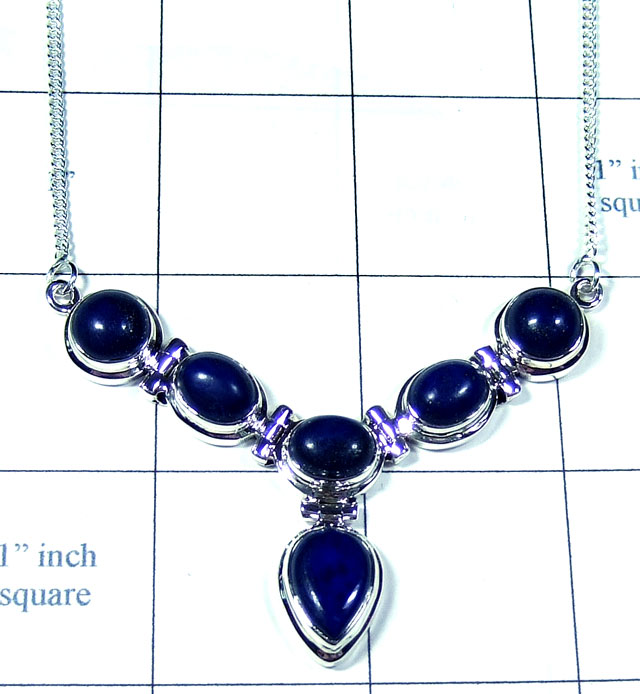 Silver Lapis gemstone Necklace-ss5n024