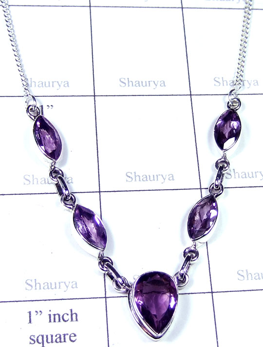 Silver Amethyst cut gems Necklace-ss5n028
