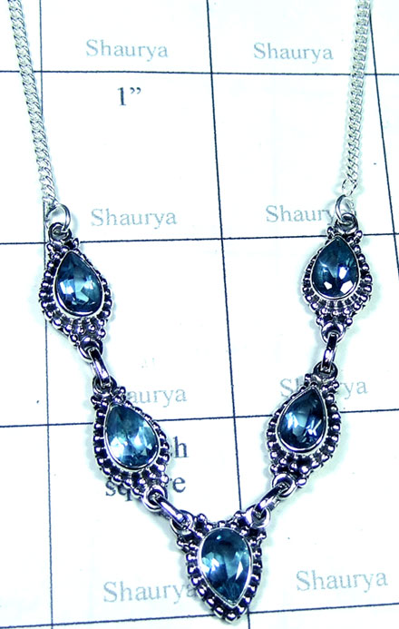 Blue Topaz Silver Necklace-ss5n029