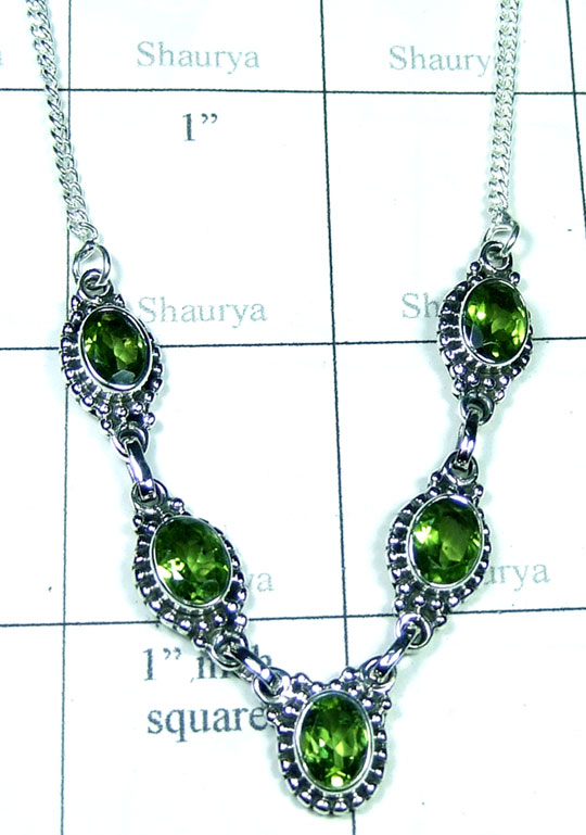 Sterling silver Peridot Necklace-ss5n030