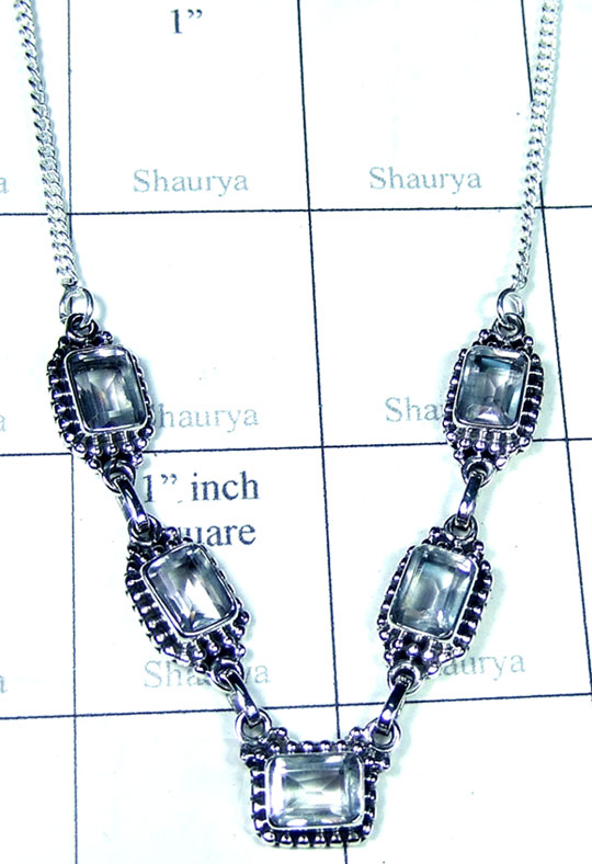 Crystal quartz silver Necklace-ss5n031