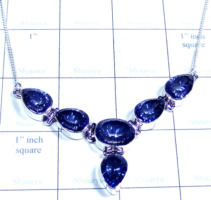 Blue Mystic silver gems Necklace-ss5n034