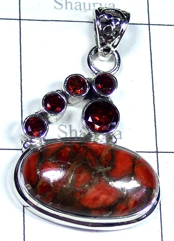 Red copper Turquoise Pendant-ss5p191