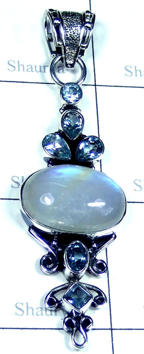 Rainbow with Blue Topaz Pendant-ss5p192