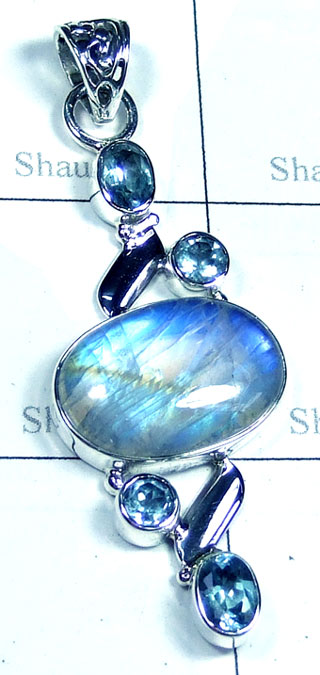 Rainbow with Blue Topaz Pendant-ss5p197