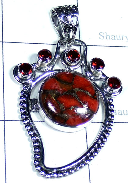 Red copper Turquoise cut cab Pendant-ss5p198