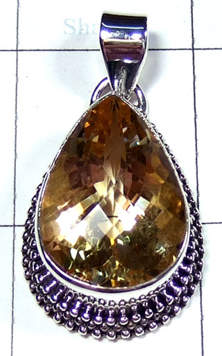 Sterling silver Citrine Pendant-ss5p241